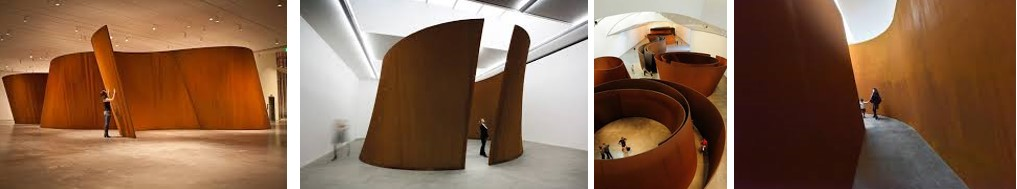 Images showing sculptures by Richard Serra made from steel but gives the idea and colour of corten